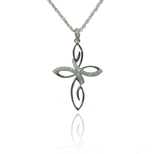 Wholesale Sterling Silver 925 Rhodium Plated Clear CZ Flowery Cross Pendant Necklace - STP01357