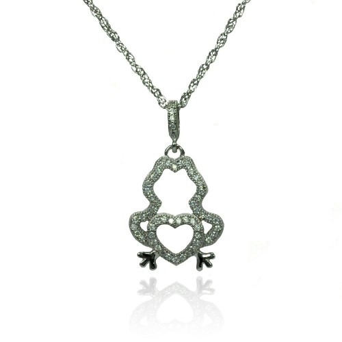 Wholesale Sterling Silver 925 Rhodium Plated Clear CZ Frog Heart Pendant Necklace - STP01358