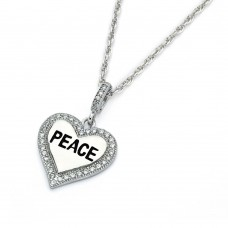 Wholesale Sterling Silver 925 Rhodium Plated Clear CZ Peace Heart Pendant Necklace - STP01359