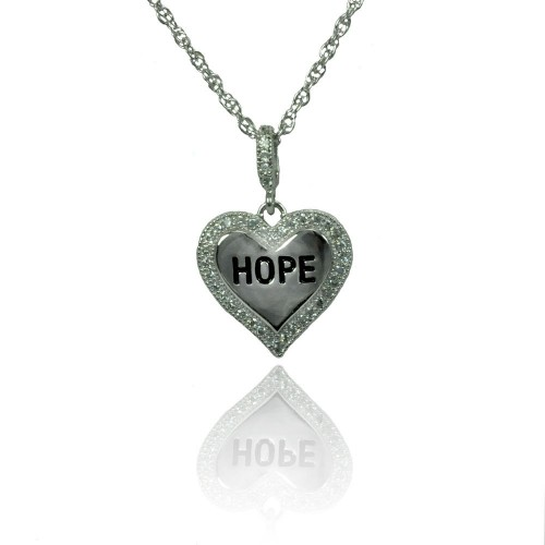 Wholesale Sterling Silver 925 Rhodium Plated Clear CZ Hope Heart Pendant Necklace - STP01360
