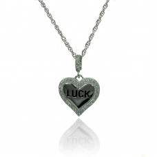 Wholesale Sterling Silver 925 Rhodium Plated Clear CZ Heart Luck Pendant Necklace - STP01362