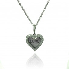 Wholesale Sterling Silver 925 Rhodium Plated Clear CZ Heart Love Pendant Necklace - STP01363