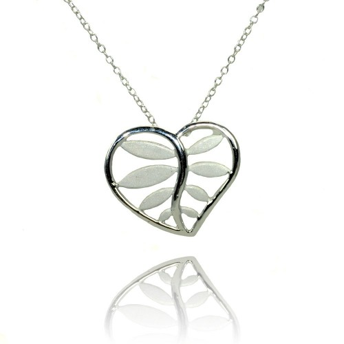 Wholesale Sterling Silver 925 Rhodium Plated Heart Leaf Pendant Necklace - STP01367