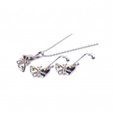 ***CLOSEOUT***Sterling Silver Gold & Rhodium Plated Butterfly CZ Dangling Hook Earring & Necklace Set sts00146