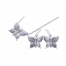 Wholesale Sterling Silver 925 Rhodium Plated Butterfly CZ Hook Earring and Necklace Set - STS00160
