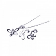 Wholesale Sterling Silver 925 Rhodium Plated Open Butterfly CZ Stud Earring and Necklace Set - STS00161