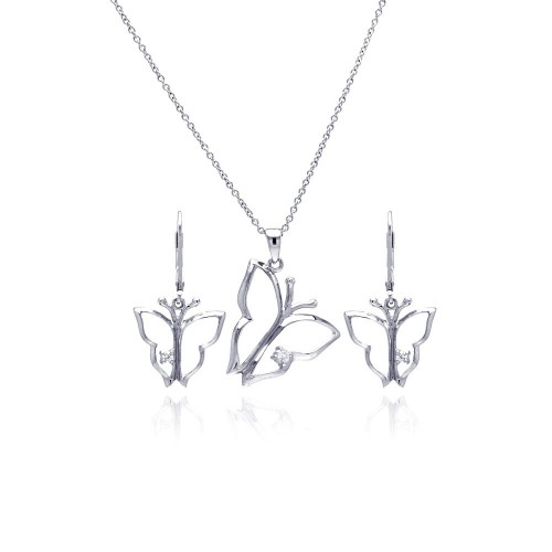 Wholesale Sterling Silver 925 Rhodium Plated Open Butterfly CZ Dangling Lever Back Earring and Necklace Set - STS00265