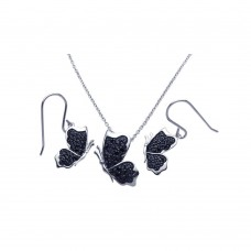 Wholesale Sterling Silver 925 Rhodium Plated Black Butterfly CZ Dangling Hook Earring and Necklace Set - STS00272