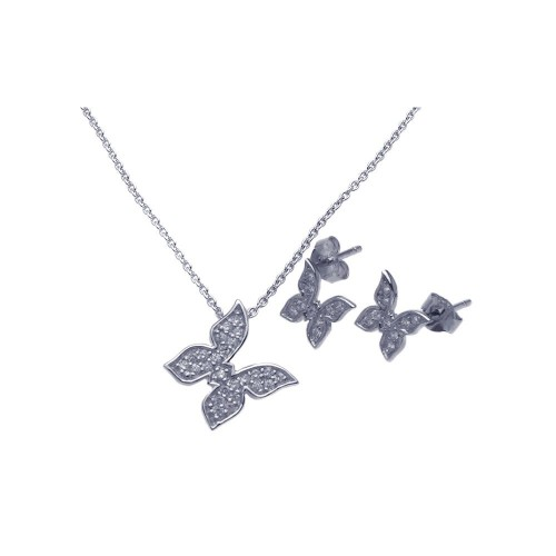 Wholesale Sterling Silver 925 Rhodium Plated Butterfly CZ Stud Earring and Necklace Set - STS00281