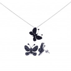 Wholesale Sterling Silver 925 Rhodium Plated Black Butterfly CZ Stud Earring and Necklace Set - STS00324