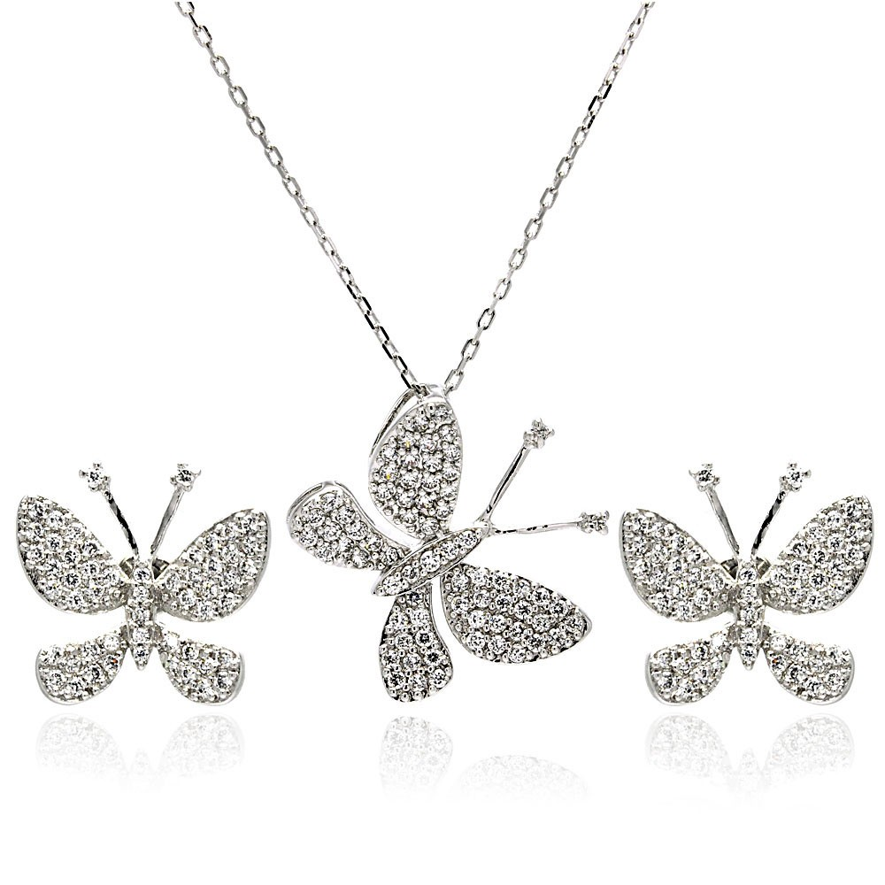 Wholesale Sterling Silver 925 Rhodium Plated Butterfly CZ Stud Earring and Necklace Set - STS00324CLR