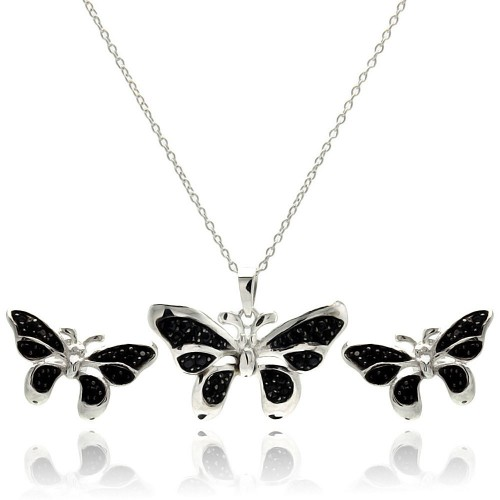 Wholesale Sterling Silver 925 Rhodium Plated Black Butterfly CZ Stud Earring and Necklace Set - STS00415