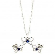 Wholesale Sterling Silver 925 Rhodium Plated Open Butterfly Round Blue CZ Stud Earring and Necklace Set - STS00423
