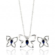 Wholesale Sterling Silver 925 Rhodium Plated Open Butterfly Blue Marquis CZ Stud Earring and Necklace Set - STS00424