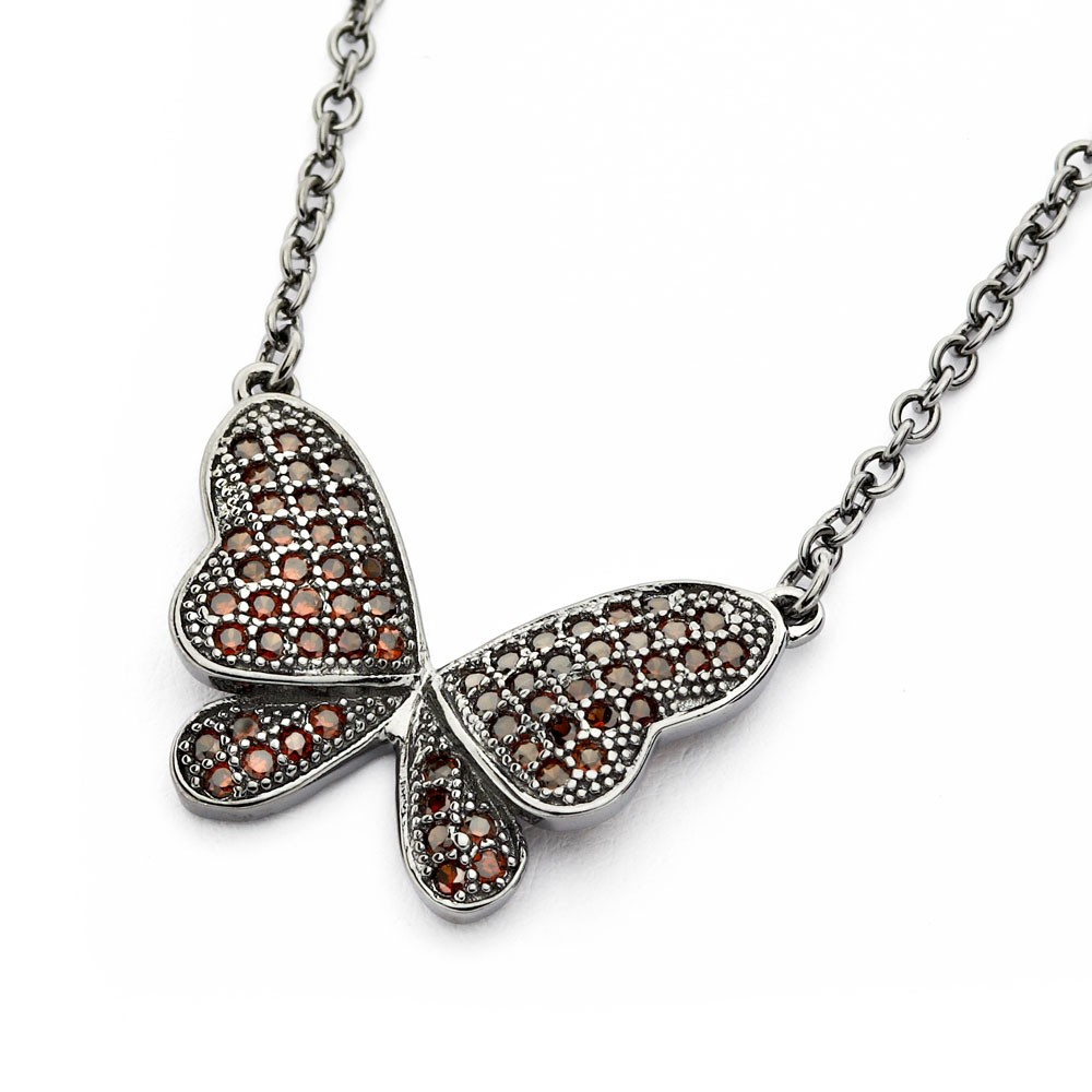 Wholesale Sterling Silver 925 Black Rhodium Plated Butterfly CZ Necklace - BGP00805