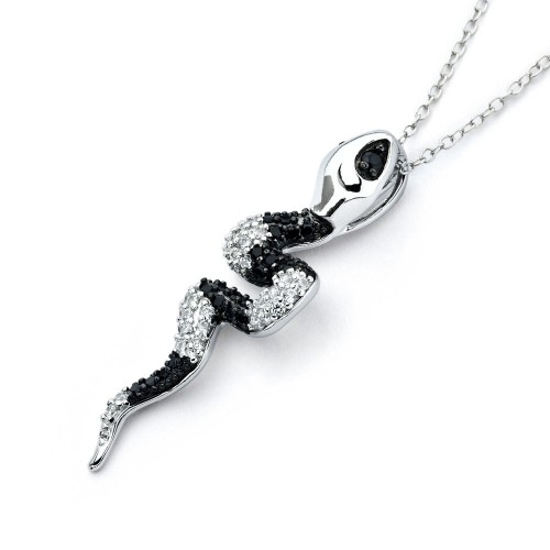 Wholesale Sterling Silver 925 Rhodium Plated Black and Clear Snake CZ Necklace - BGP00814