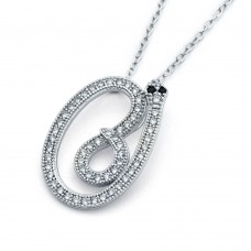 Wholesale Sterling Silver 925 Rhodium Plated Long Snake Black and Clear CZ Necklace - BGP00815