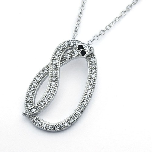 Wholesale Sterling Silver 925 Rhodium Plated Long Black and Clear Snake CZ Necklace - BGP00816