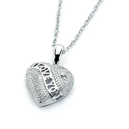 Wholesale Sterling Silver 925 Rhodium Plated Clear CZ I Love You Heart Pendant Necklace - BGP00823