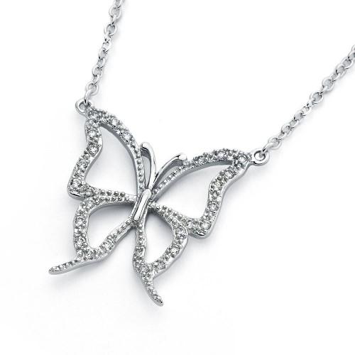 Wholesale Sterling Silver 925 Rhodium Plated Open Butterfly Pendant Necklace - BGP00827