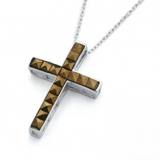-Closeout- Wholesale Sterling Silver 925 Rhodium Plated Clear CZ Cross Pendant Necklace - STP01339