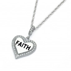 Wholesale Sterling Silver 925 Rhodium Plated Clear CZ Faith Heart Pendant Necklace - STP01361