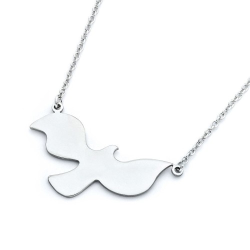 Wholesale Sterling Silver 925 Rhodium Plated Dove Pendant Necklace - STP01368
