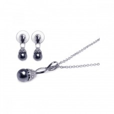 Wholesale Sterling Silver 925 Rhodium Plated Black Pearl Clear CZ Dangling Stud Earring and Dangling Necklace Set - BGS00001