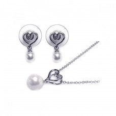 Wholesale Sterling Silver 925 Rhodium Plated White Pearl and Heart Dangling Stud Earring and Necklace Set - BGS00003