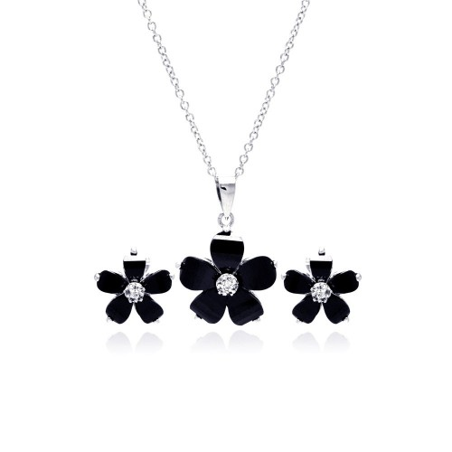 Wholesale Sterling Silver 925 Rhodium Plated Black Flower and Clear CZ Stud Earring and Dangling Necklace Set - BGS00008