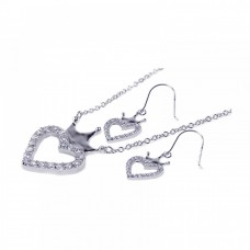 **Closeout** Wholesale Sterling Silver 925 Rhodium Plated Clear Open Heart and Crown CZ Hook Earring and Necklace Set - BGS00009