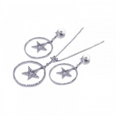 **Closeout** Wholesale Sterling Silver 925 Rhodium Plated Clear Open Circle Star CZ Dangling Stud Earring and Dangling Necklace Set - BGS00012