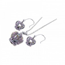 **Closeout** Wholesale Sterling Silver 925 Rhodium Plated Multi Colored Crown CZ Hook Earring and Dangling Necklace Set - BGS00014