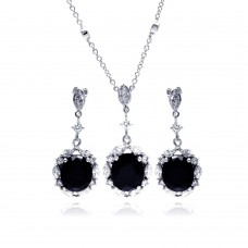 Wholesale Sterling Silver 925 Rhodium Plated Black and Clear Flower CZ Dangling Stud Earring and Dangling Necklace Set - BGS00015