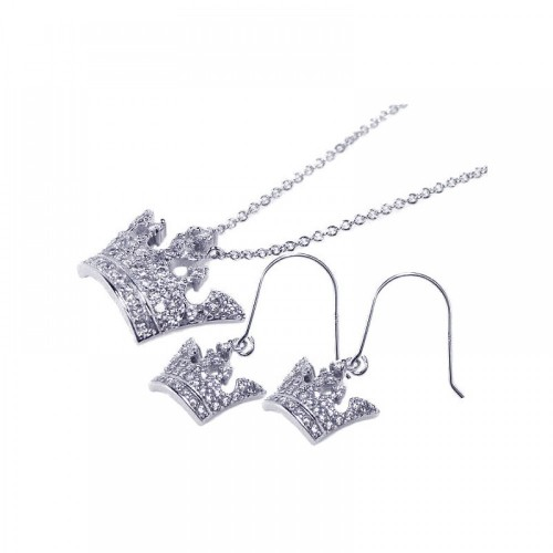 Wholesale Sterling Silver 925 Rhodium Plated Clear Crown CZ Hook Earring and Necklace Set - BGS00016