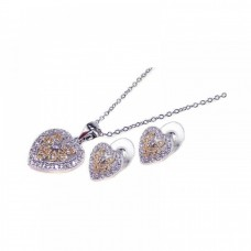 Wholesale Sterling Silver 925 Rhodium Plated Multi Colored Heart CZ Stud Earring and Dangling Necklace Set - BGS00021