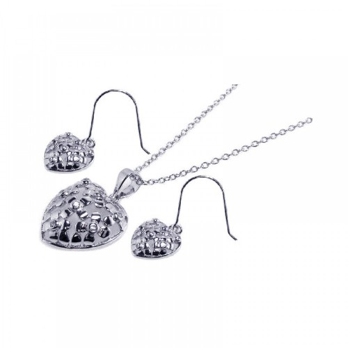 Wholesale Sterling Silver 925 Rhodium Plated Clear Heart CZ Hook Earring and Dangling Necklace Set - BGS00023