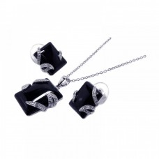 **Closeout** Wholesale Sterling Silver 925 Rhodium Plated Black Onyx Rectangle Clear CZ Stud Earring and Necklace Set - BGS00024