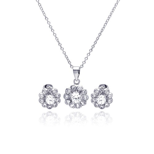 Sterling Silver Rhodium Plated Clear Flower CZ Stud Earring & Necklace Set bgs00027