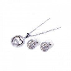 **Closeout** Sterling Silver Rhodium & Gold Plated Heart Clear Open CZ Stud Earring & Necklace Set bgs00028