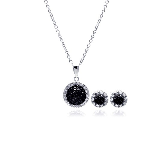 Wholesale Sterling Silver 925 Rhodium and Black Plated Clear and Black Round Circle CZ Set - BGS00032