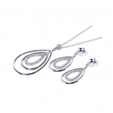 Sterling Silver Rhodium Plated Clear Open Tear Drop CZ Dangling Stud Earring & Dangling Necklace Set bgs00033