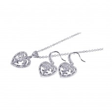 Wholesale Sterling Silver 925 Rhodium Plated Clear Heart Crest CZ Hook Earring and Dangling Necklace Set - BGS00036