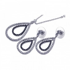 Wholesale Sterling Silver Rhodium and Black Rhodium Plated Clear and Black Open Tear Drop CZ Dangling  Set - BGS00037