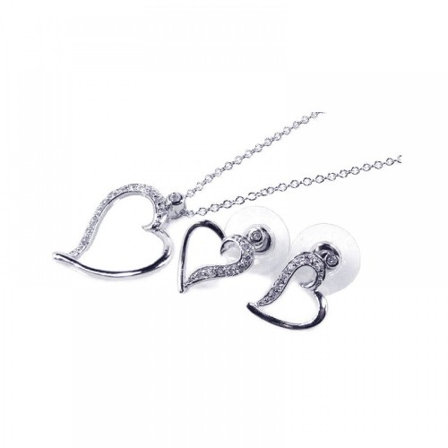 Wholesale Sterling Silver 925 Rhodium Plated Clear Open Heart CZ Stud Earring and Necklace Set - BGS00038