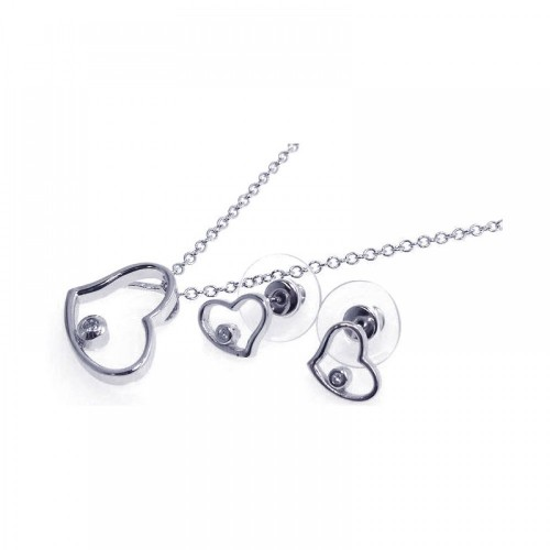 Wholesale Sterling Silver 925 Rhodium Plated Clear Single Open Heart CZ Stud Earring and Necklace Set - BGS00039