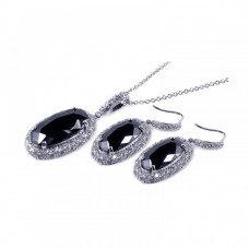 **Closeout** Wholesale Sterling Silver 925 Rhodium Plated Black Oval and Clear Micro Pave CZ Hook Earring and Dangling Necklace Set - BGS00041