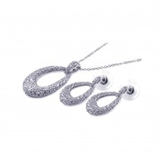 ***CLOSEOUT***Sterling Silver Rhodium Plated Open Oval Clear CZ Dangling Stud Earring & Necklace Set bgs00042