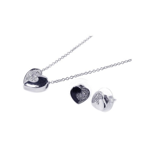 Wholesale Sterling Silver 925 Rhodium Plated Clear Half Micro Pave Heart CZ Stud Earring and Necklace Set - BGS00047