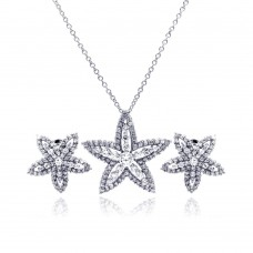 Wholesale Sterling Silver 925 Rhodium Plated Clear Star Flower CZ Stud Earring and Necklace Set - BGS00049